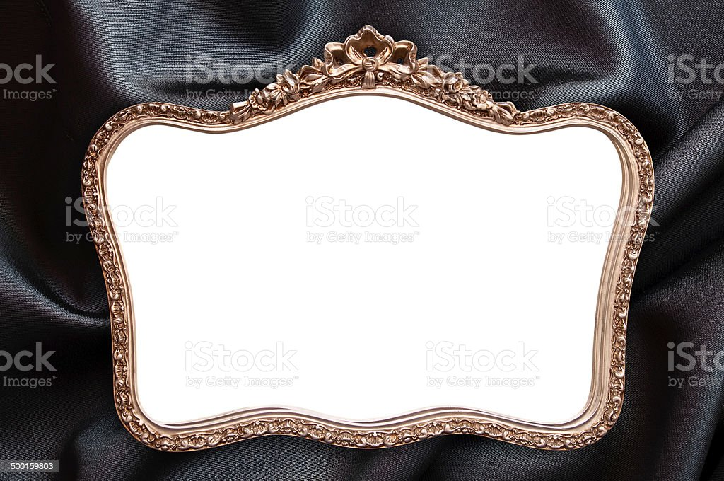 Antique frame with blank copy space, black fabric background royalty-free stock photo
