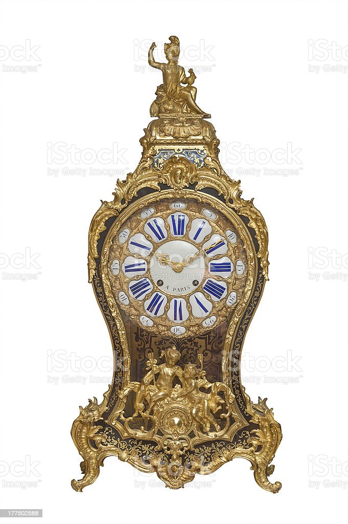 Antique French clock, isolated royalty-free stock photo
