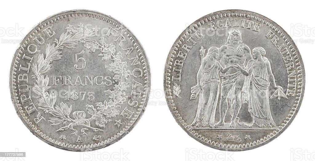 Antique french coin 1873 stock photo