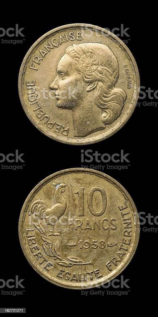 Antique French Coin royalty-free stock photo
