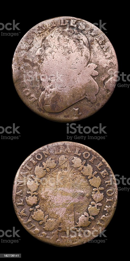 Antique French Coin stock photo