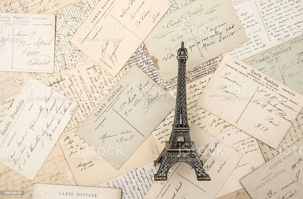 antique french postcards and souvenir Eiffel Tower stock photo