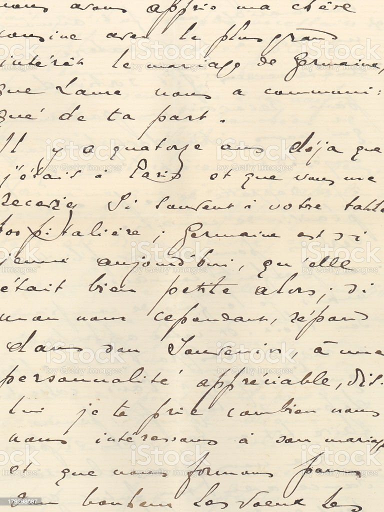 Antique French writing on a paper stock photo