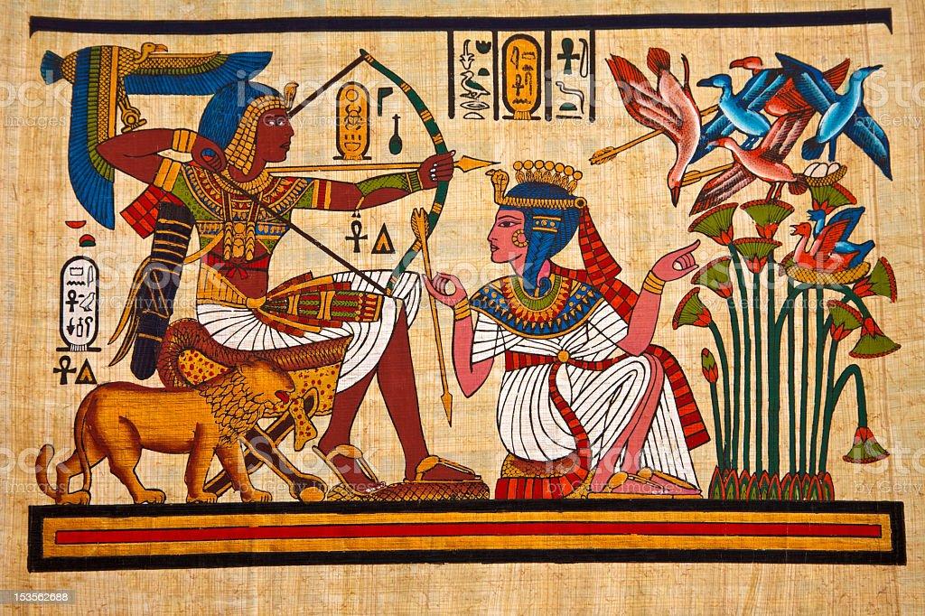 Antique Fresco featuring ancient Egypt royal life stock photo