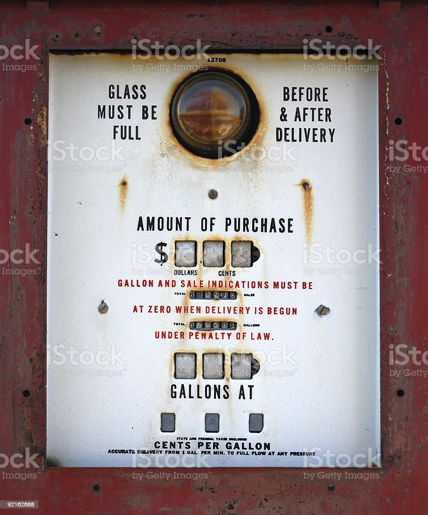 Antique Gas Pump Close Up royalty-free stock photo