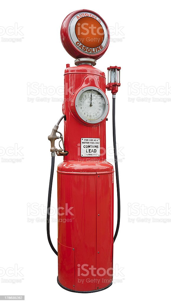 antique gas pump, isolated stock photo