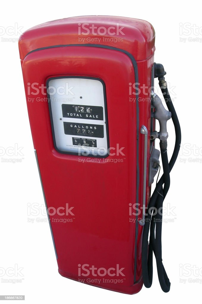 Antique gas pump with clipping path royalty-free stock photo