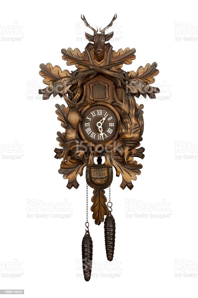Antique German Cuckoo Clock stock photo