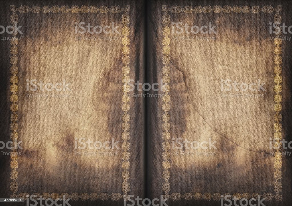 Antique Gilded Blank Book Pages Stained Vignette Grunge Texture royalty-free stock photo