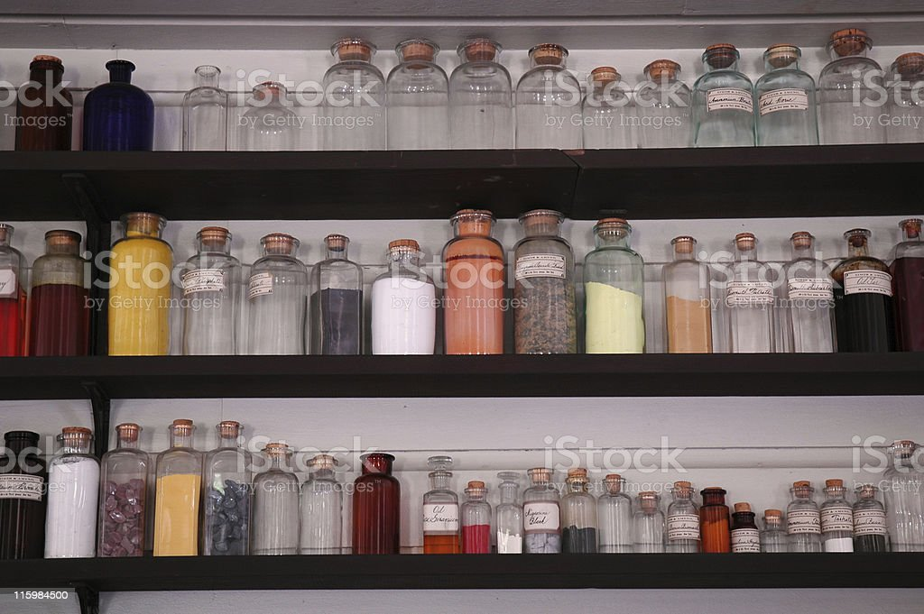 Antique glass bottles, chemistry purposes royalty-free stock photo