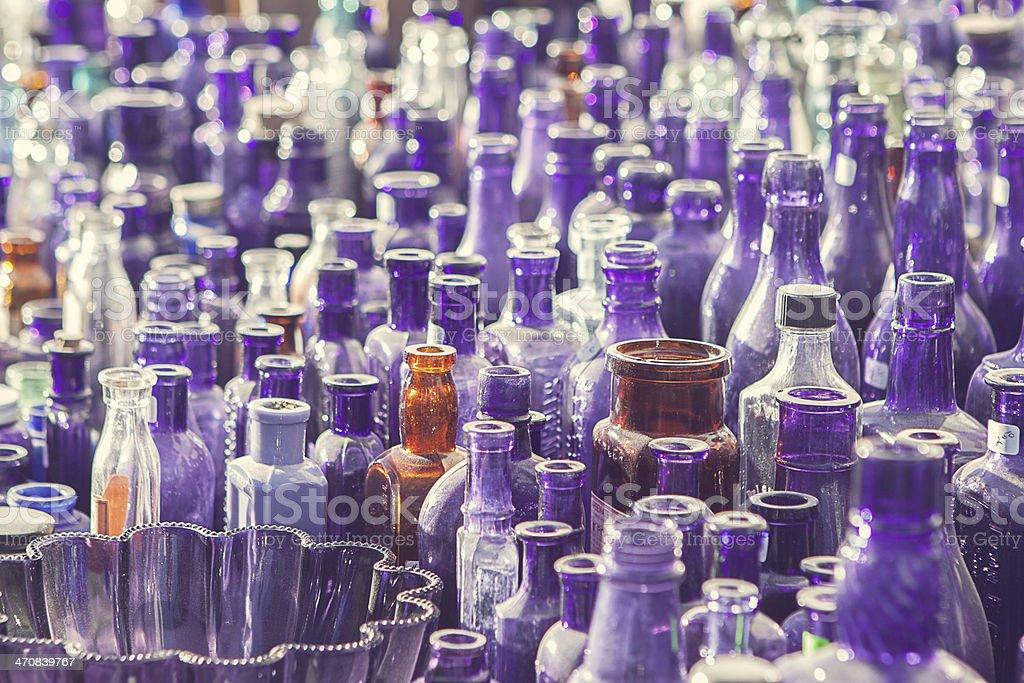 Antique Glass Bottles stock photo