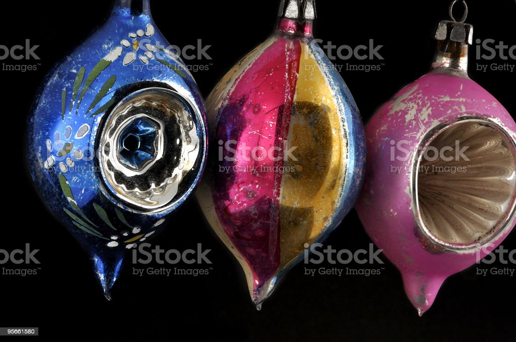 Antique Glass Christmas Ornaments On Black royalty-free stock photo