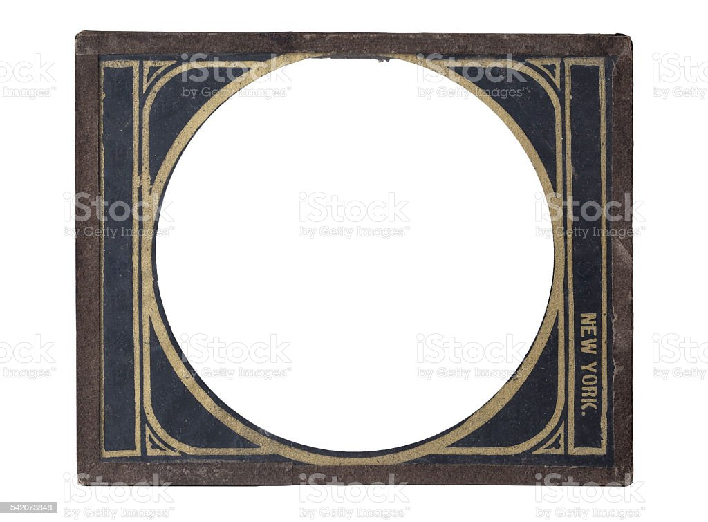 Antique Glass Plate Negative Metal Frame stock photo
