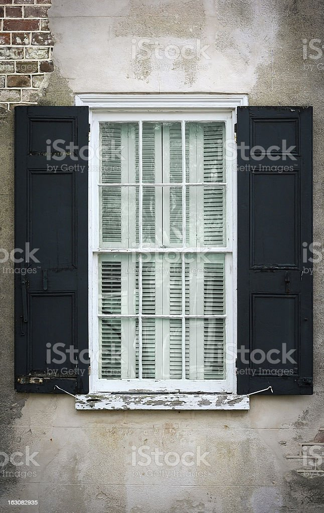 Antique glass window royalty-free stock photo