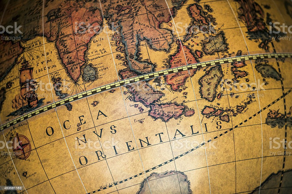 Antique globe, close up on Indian Ocean stock photo