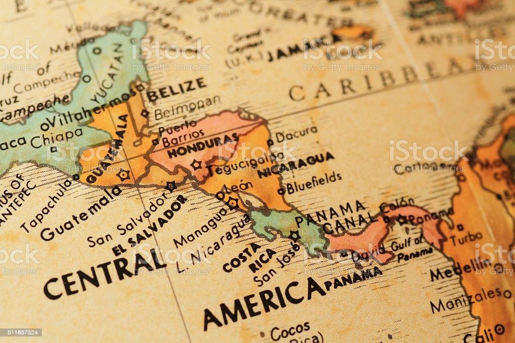 Antique globe focusing on Central America stock photo