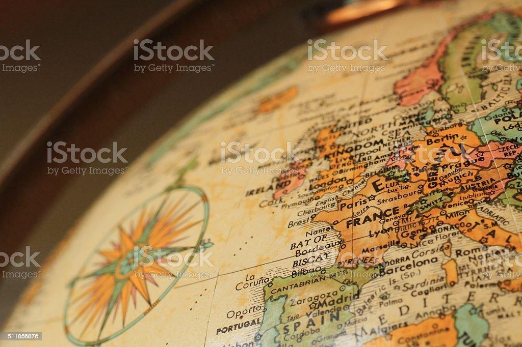 Antique globe focusing on Western Europe stock photo
