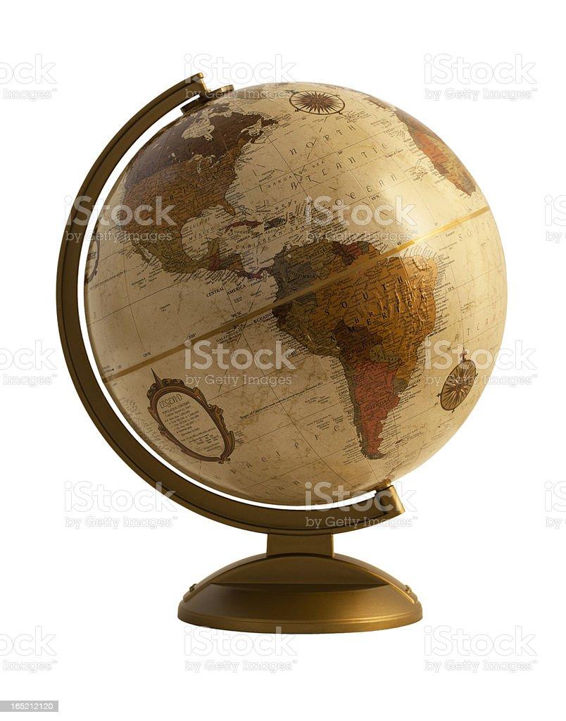 Antique globe on white stock photo