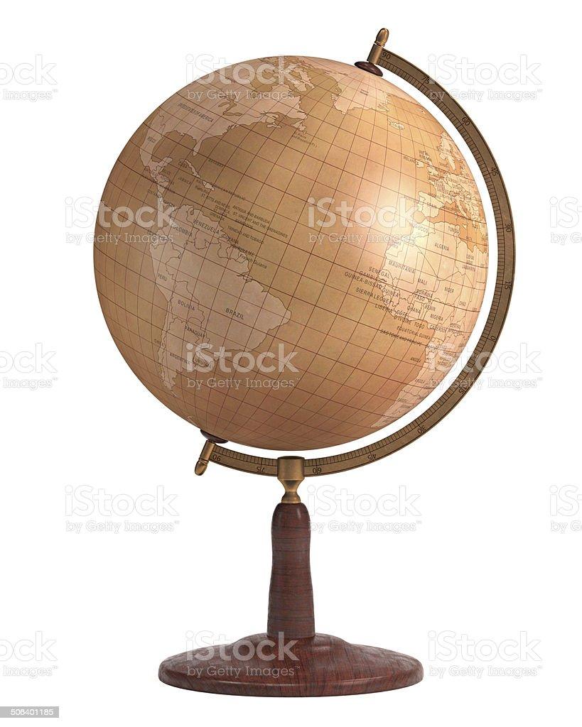 Antique Globe Over White stock photo
