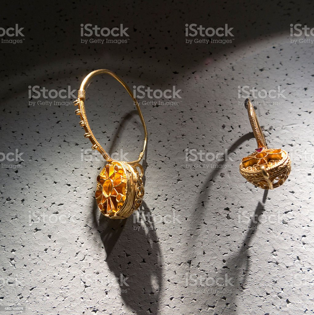 Antique Gold Earrings stock photo