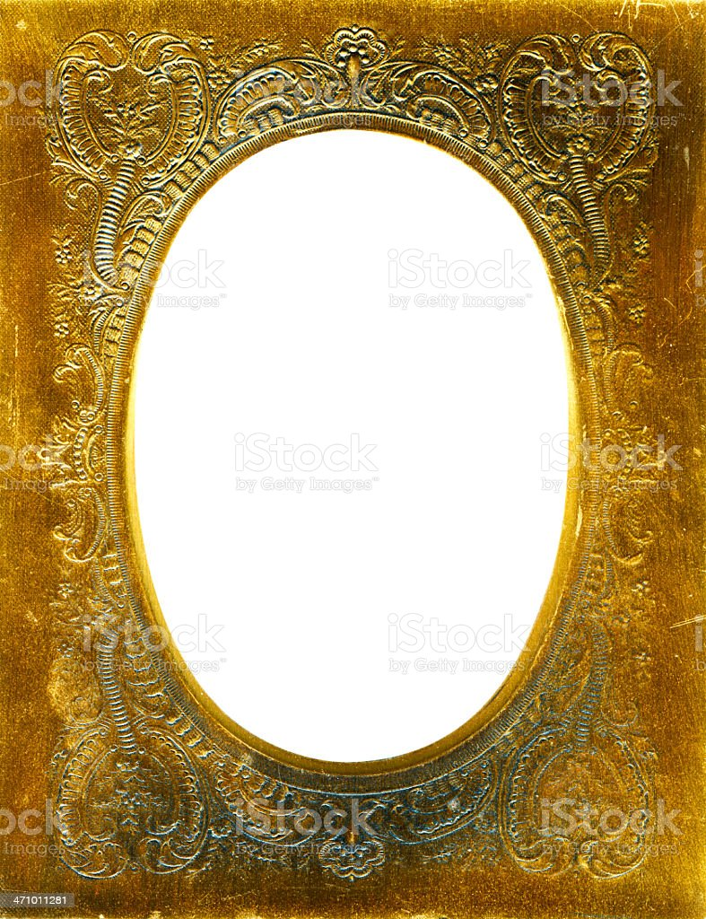 Antique Gold embossed metal frame royalty-free stock photo