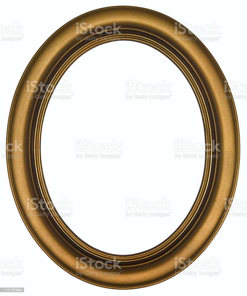 Antique Gold Oval Picture Frame.  Isolated on White Clipping Path stock photo