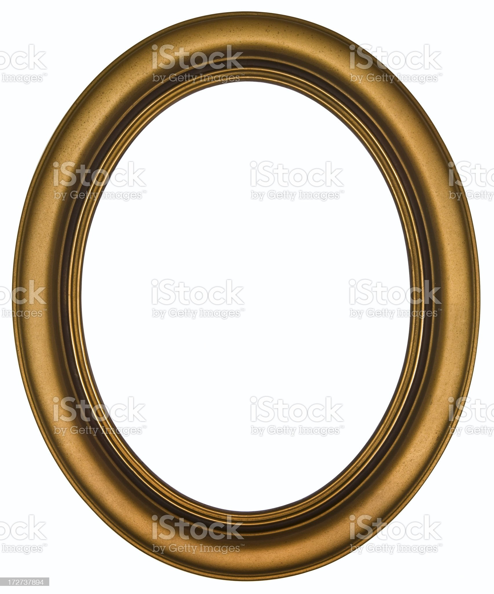 Antique Gold Oval Picture Frame.  Isolated on White Clipping Path royalty-free stock photo