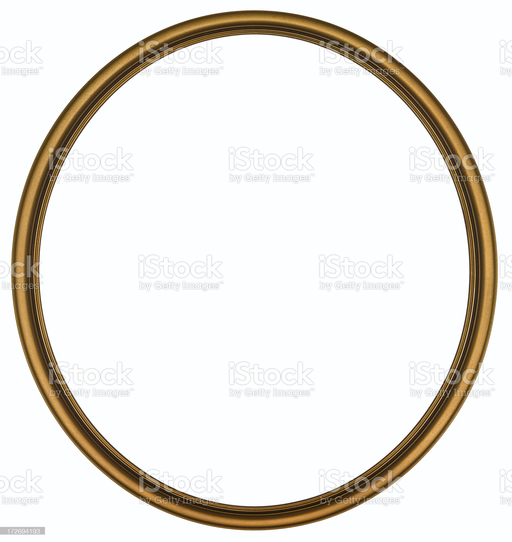 Antique Gold Round Picture Frame. Isolated with Clipping Path royalty-free stock photo
