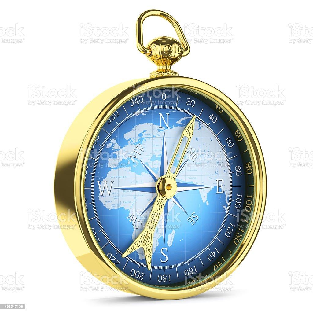 Antique golden compass stock photo