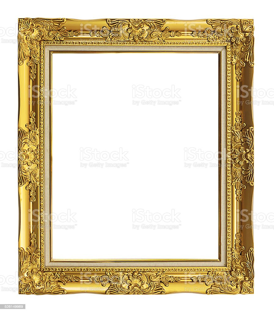 antique golden frame isolated on white background, clipping path stock photo