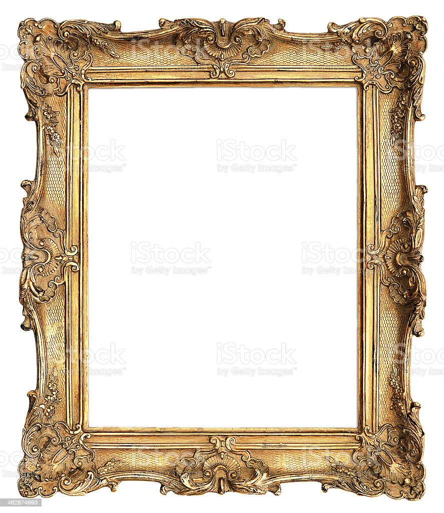 antique golden frame isolated on white stock photo