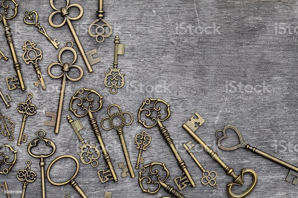antique golden keys stock photo