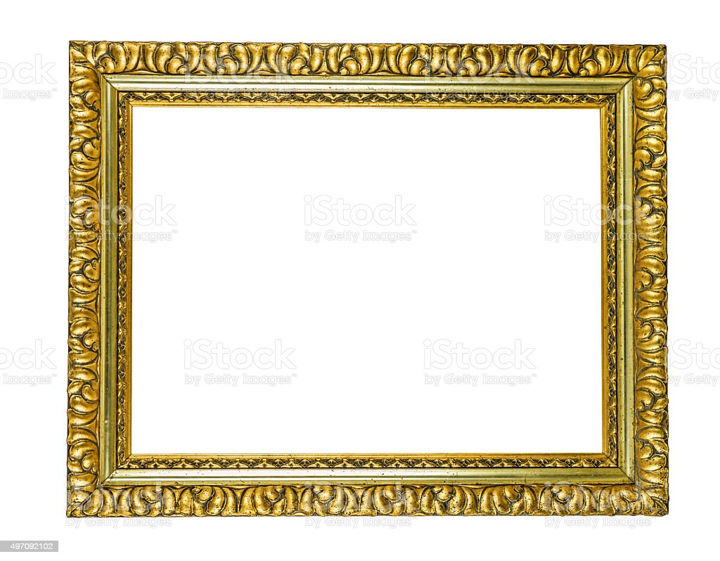 antique golden picture frame stock photo