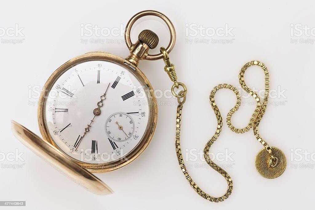 Antique Golden Pocket Watch stock photo