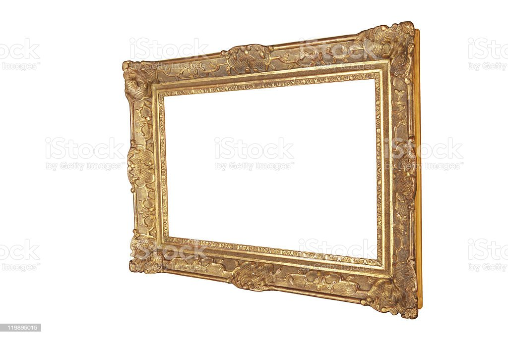 antique golden wooden emty Frame CLIPPING PATH royalty-free stock photo