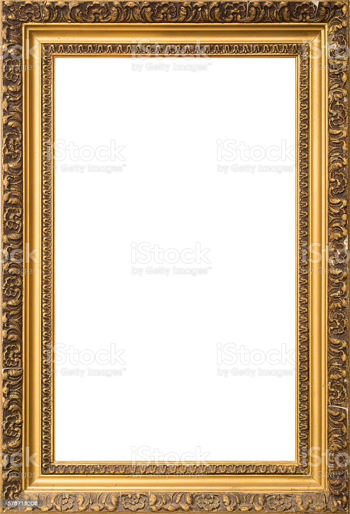 antique golden wooden frame isolated on white background stock photo