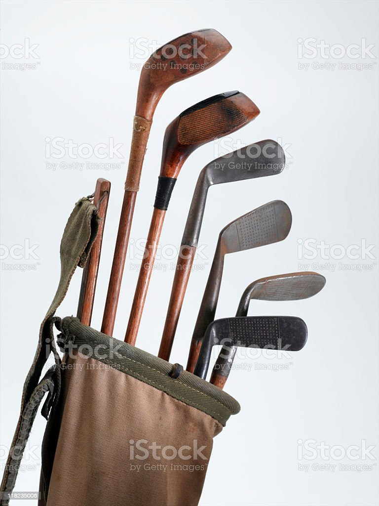 Antique Golf Clubs stock photo