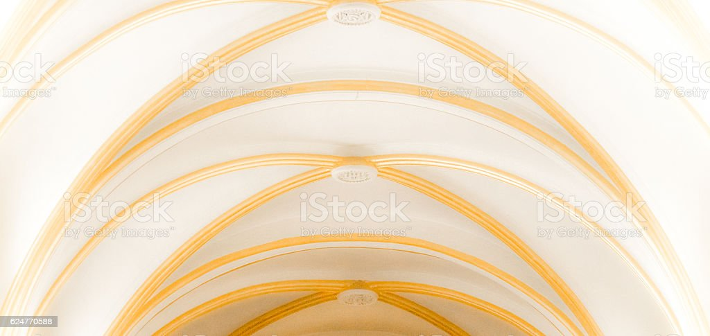 Antique Gothic ceiling in the Christian Church stock photo