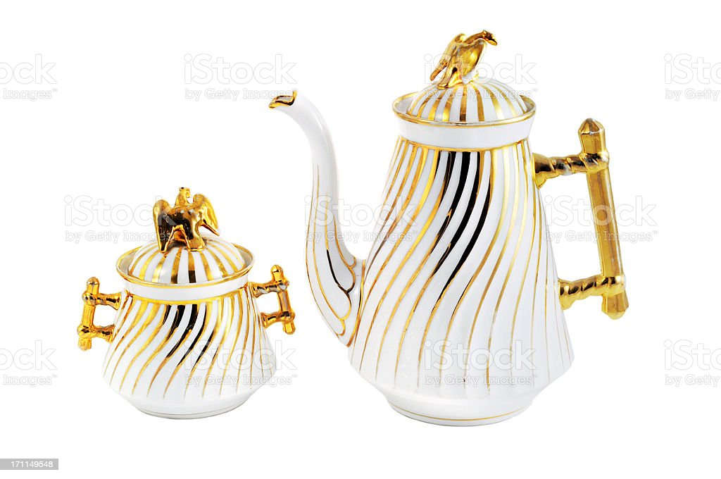 antique gründerzeit (itme 1840-1871) coffee pot and sugar bowl stock photo