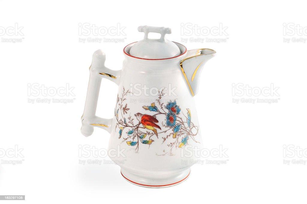 antique gründerzeit (itme 1840-1871) coffee pot with hand painted bird stock photo
