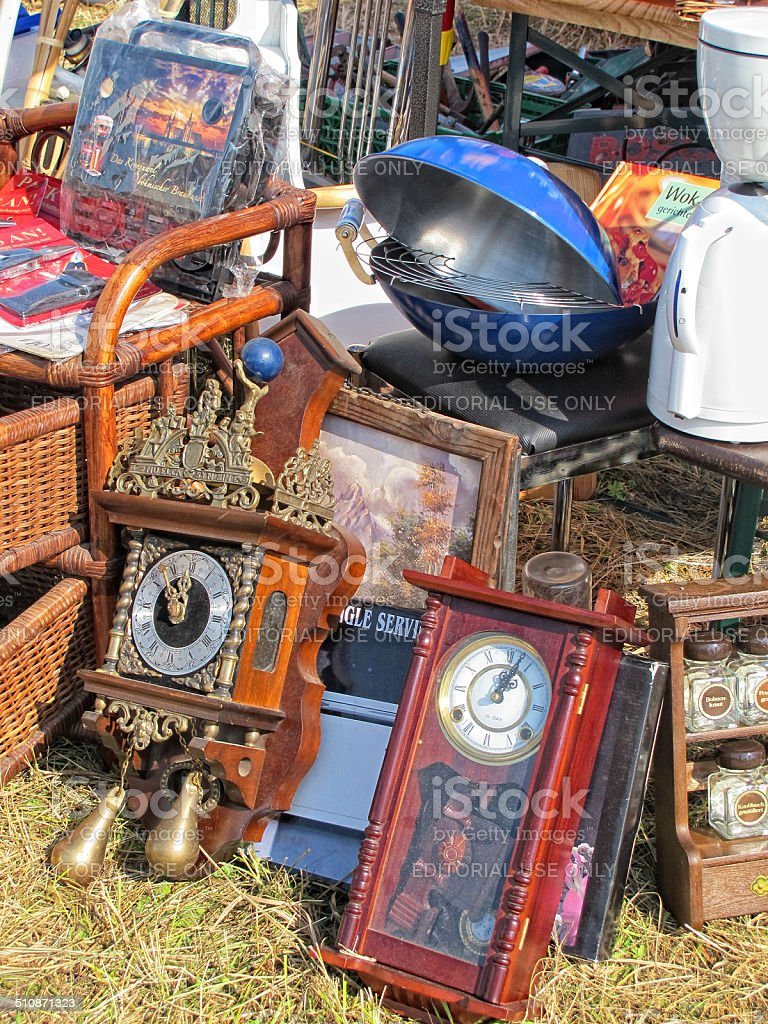 antique grandfather clock on flea market stock photo