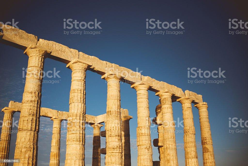 Antique Greek temple of Poseidon stock photo