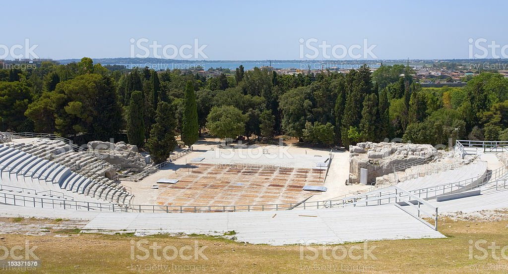 antique Greek Theater and Ionian Sea, Sicily stock photo