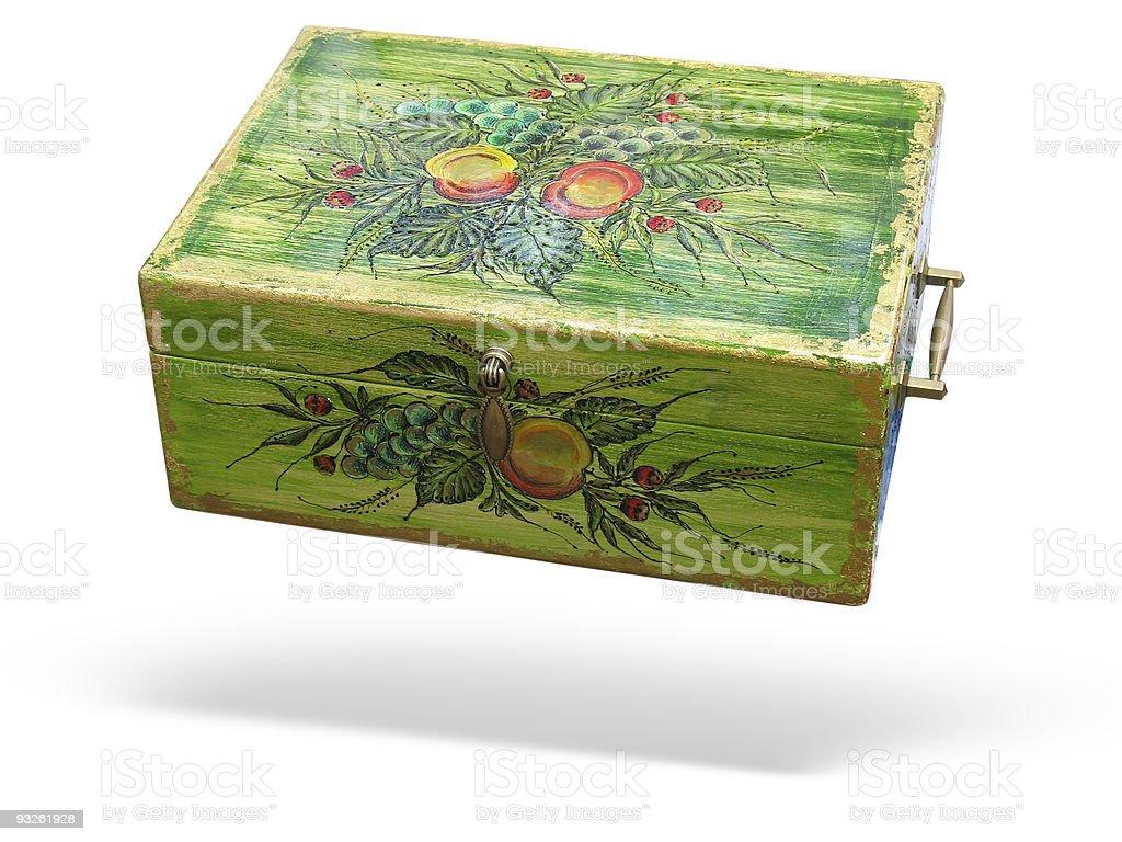 Antigo caixa de madeira verde isolado decorado foto de stock royalty-free