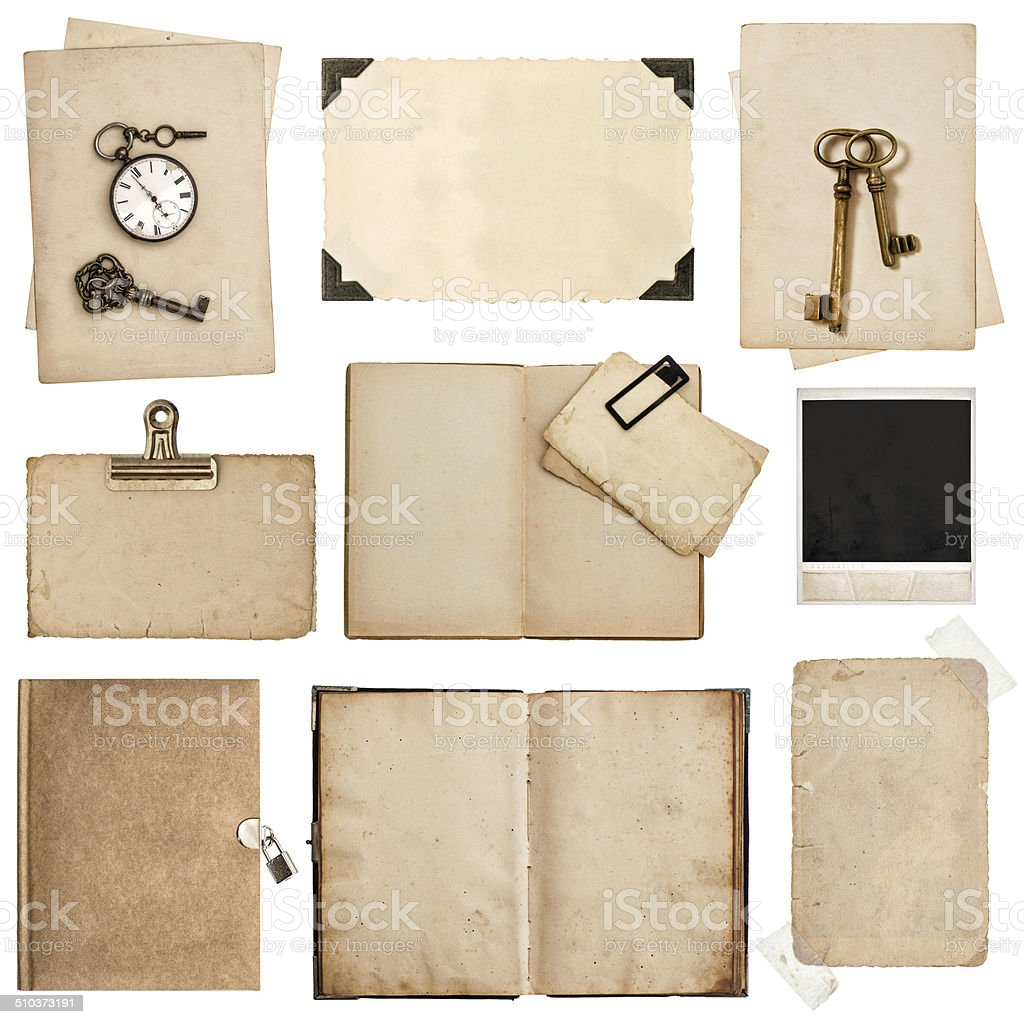 antique grungy paper sheets, books and photo frames stock photo