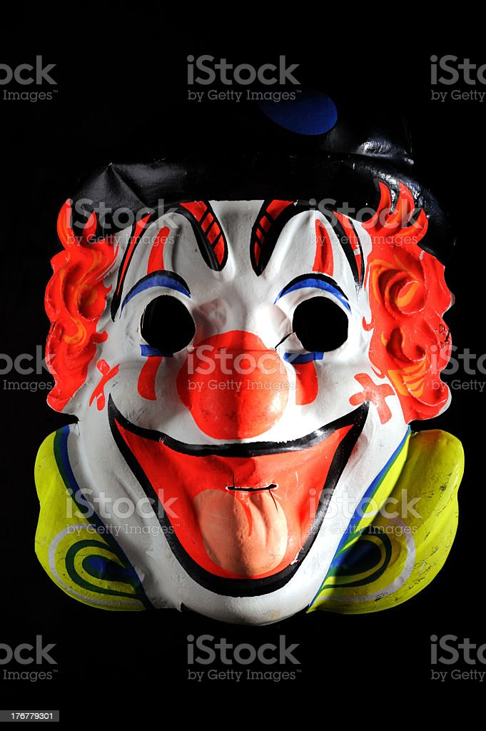 Antique Halloween clown French mask stock photo