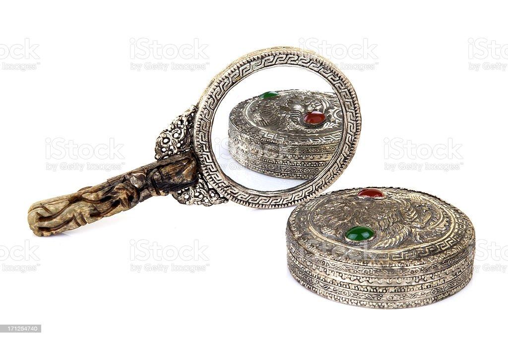 antique hand mirror with jewelery box stock photo