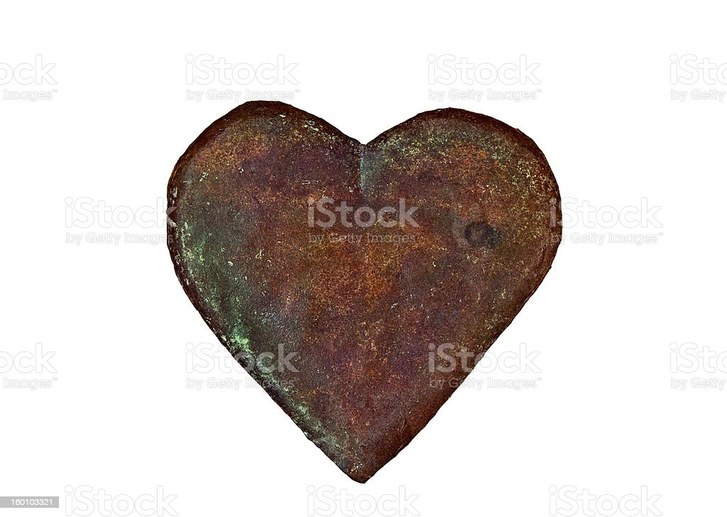 Antique handmade metal heart with clipping path royalty-free stock photo