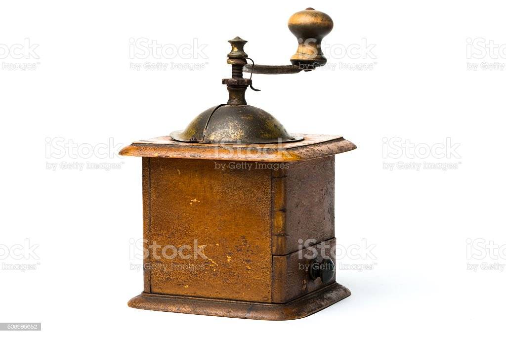 Antique hand-mill for a grinding  spices and coffee stock photo