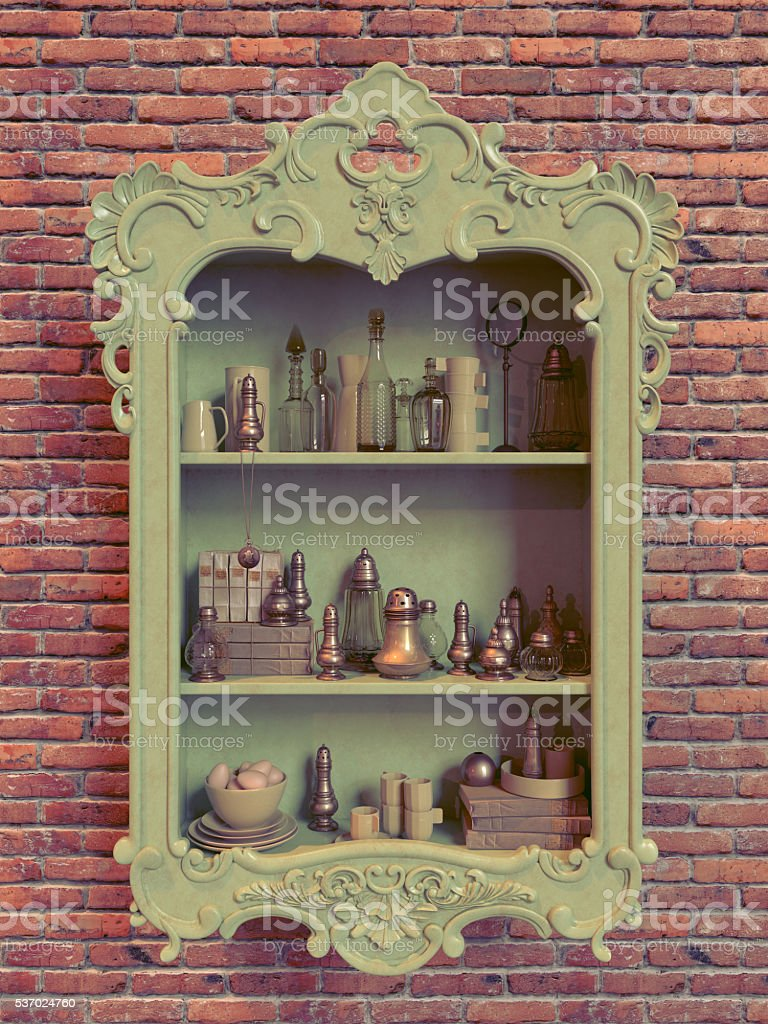 Antique hanging cabinet with kitchenware stock photo